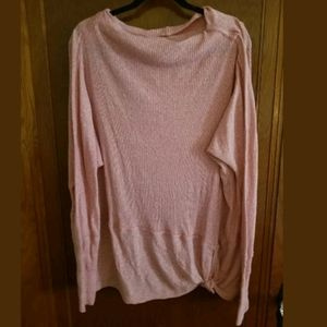We The Free Pink Cowl Neck Pink Side Tie Top L